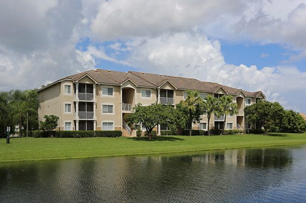 Homes along lake at San Michele Andros Isles West Palm Beach, A Kolter Group Property