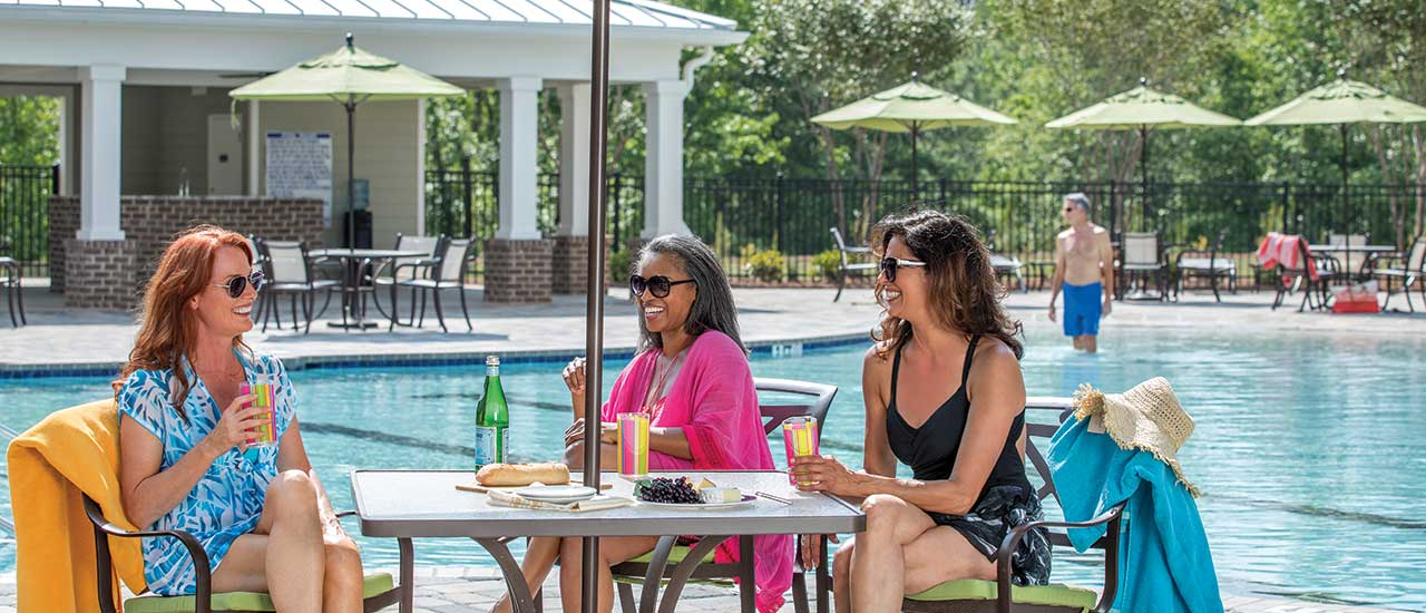 Women hanging by pool