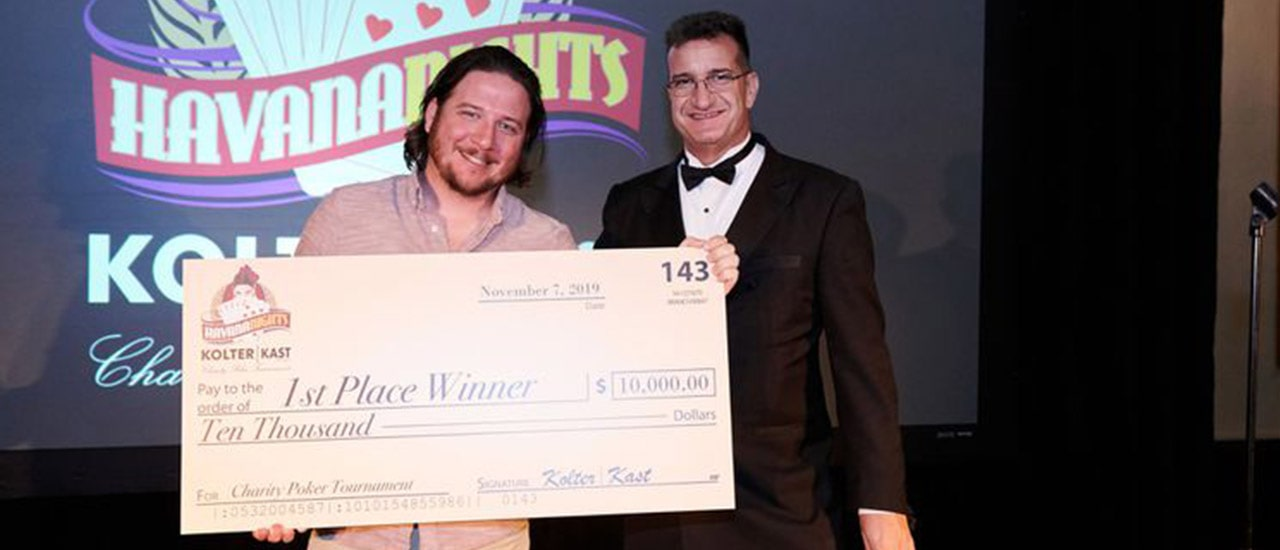 Adam LeBlanc, vice president of design with Specialty Engineering Consultants, inc., took the $10,000 first-place prize at the 2019 Kolter|Kast Havana Nights Charity Poker event