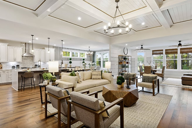 interior of a great room model of kolter homes palm model in handsmill